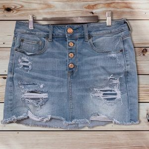 American Eagle Distressed Hi Rise Mini Skirt-10